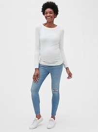 Maternity Soft Wear Demi Panel True Skinny Jeans with Distressed Detail