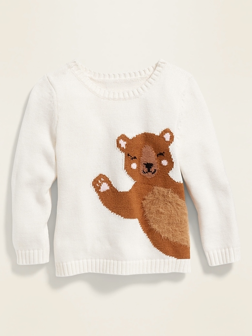 Graphic Crew-Neck Sweater for Toddler Girls