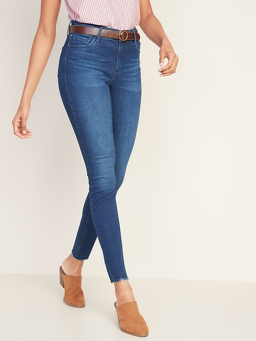 Mid-Rise Built-In Sculpt Rockstar Raw-Hem Super Skinny Jeans for Women