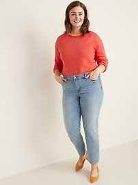 Mid-Rise Power Slim Straight Plus-Size Jeans