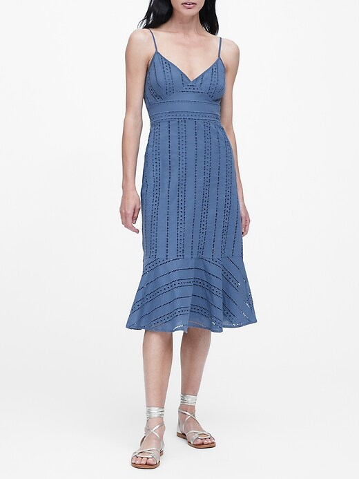 Petite Eyelet Midi Dress