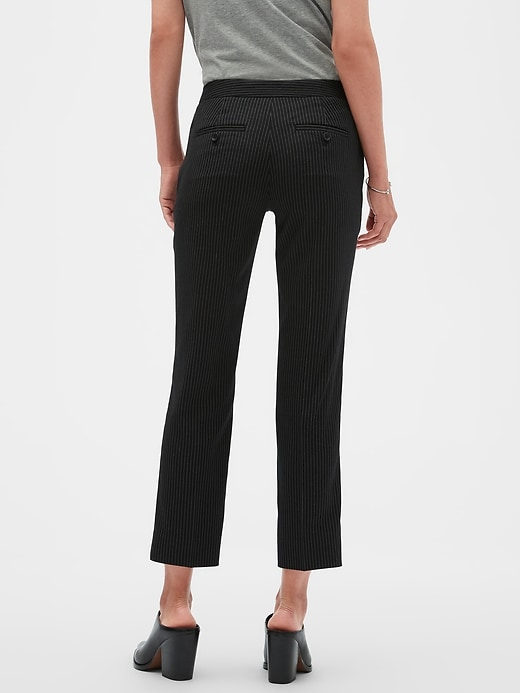 Avery Tie-Waist Pinstripe Tailored Ankle Pant