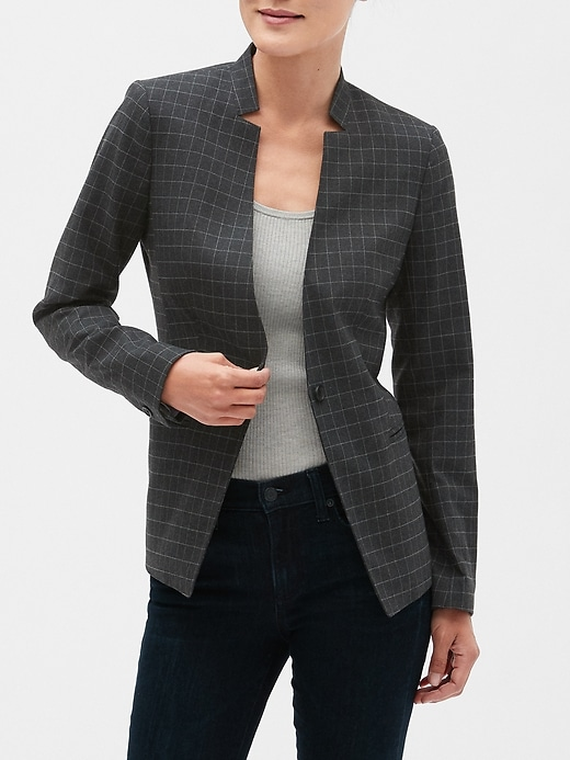 Washable Charcoal Windowpane Inverted Collar Blazer