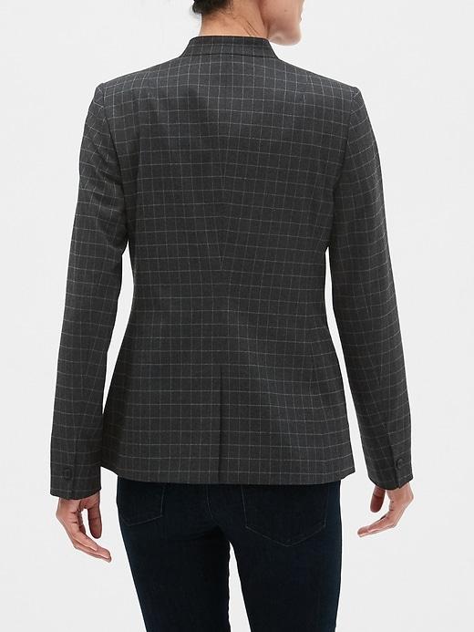 Petite Charcoal Windowpane Inverted Collar Blazer