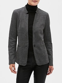 Petite Classic Knit Herringbone Inverted Collar Blazer