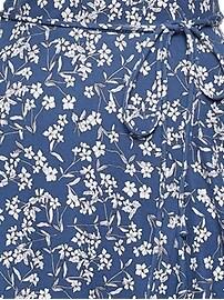 Floral Soft Ponte Ruffle Wrap Dress
