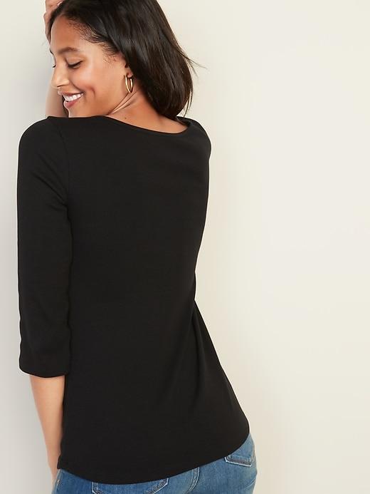 Slim-Fit Rib-Knit Henley for Women
