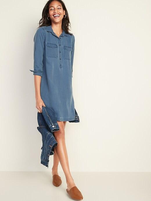 Faded Twill Shirt Dress for Women