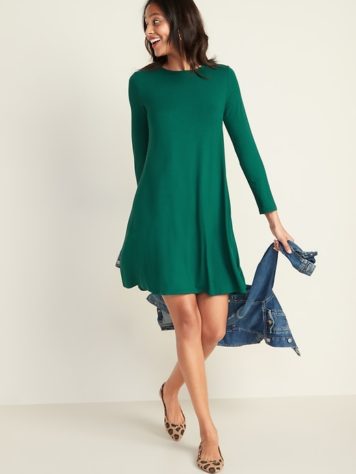 Long-Sleeve Jersey-Knit Swing Dress for Women