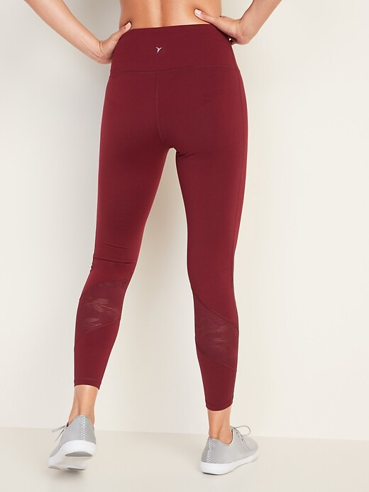 High-Waisted Elevate 7/8-Length Mesh-Trim Compression Leggings for Women