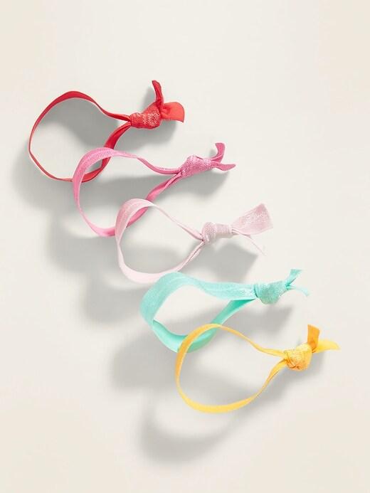 Elastic Ribbon Hair Ties 5-Pack for Women