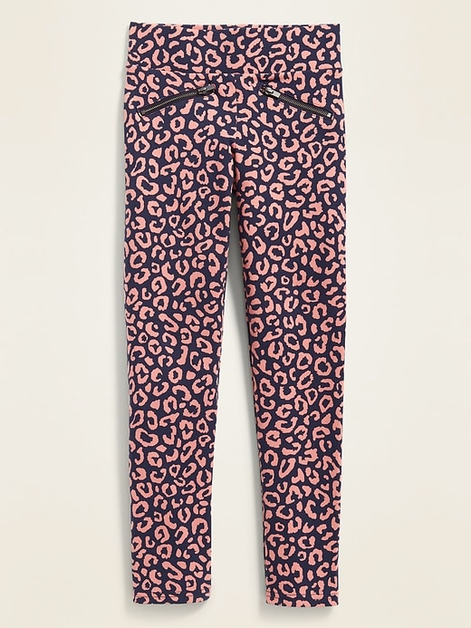 High-Waisted Printed Zip Faux-Pocket Stevie Pants For Girls