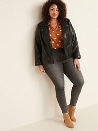 Plus-Size Faux-Leather Moto Jacket