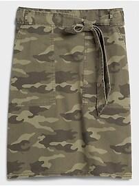 Camo Tie-Waist Chino Pencil Skirt