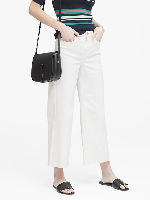 High-Rise Wide-Leg Cropped Jean with Raw Hem