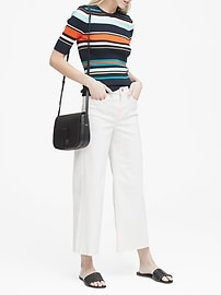 Petite High-Rise Wide-Leg Cropped Jean with Raw Hem