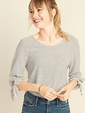 Deals on Old Navy Slub-Knit 3/4-Length Tie-Sleeve Top for Women