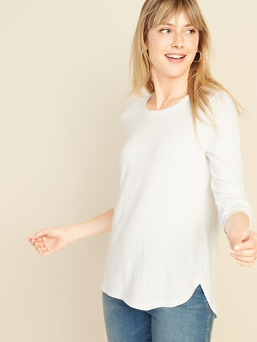 Luxe Bracelet-Sleeve Hi-Lo Hem Tee for Women