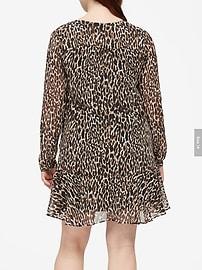Leopard Flounce-Hem Dress