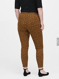 Jean coupe moulante à imprimé léopard à taille moyenne