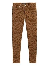 Jean coupe moulante à imprimé léopard à taille moyenne, Petite