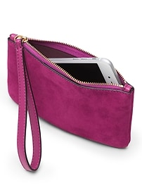 Suede Mini Wristlet Clutch
