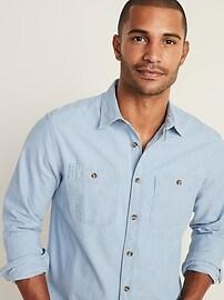 Regular-Fit Shadow Stripe Workwear Shirt for Men