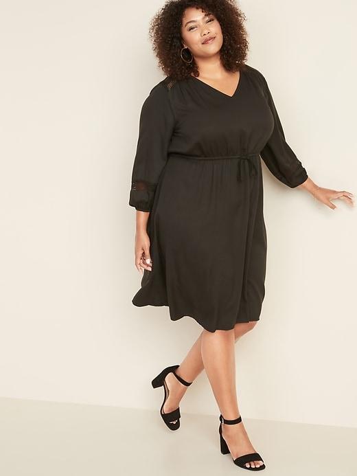 Plus-Size Waist-Defined Lace-Sleeve V-Neck Dress
