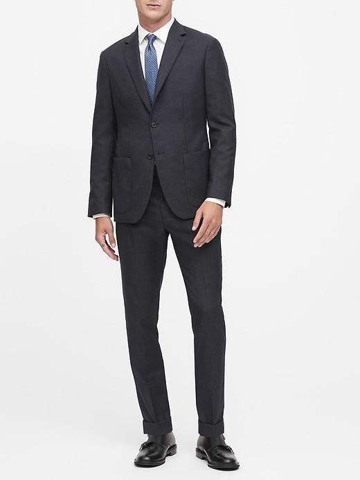 Slim Houndstooth Wool Suit Jacket