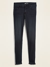 Mid-Rise Rockstar Super Skinny Raw-Edge Ankle Jeans for Women