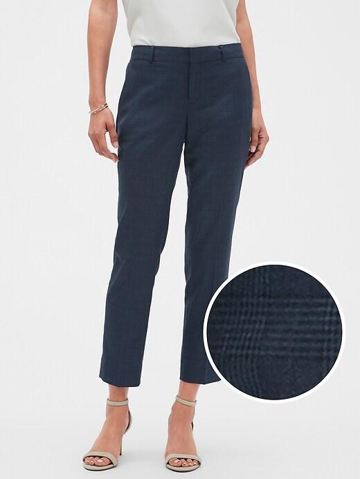 Petite Machine Washable Avery Blue Plaid Suit Pant