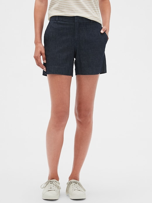 Petite Tailored Chambray Pique Shorts - 5 inch inseam