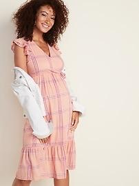Maternity Ruffle-Trim Tiered Plaid Midi Dress