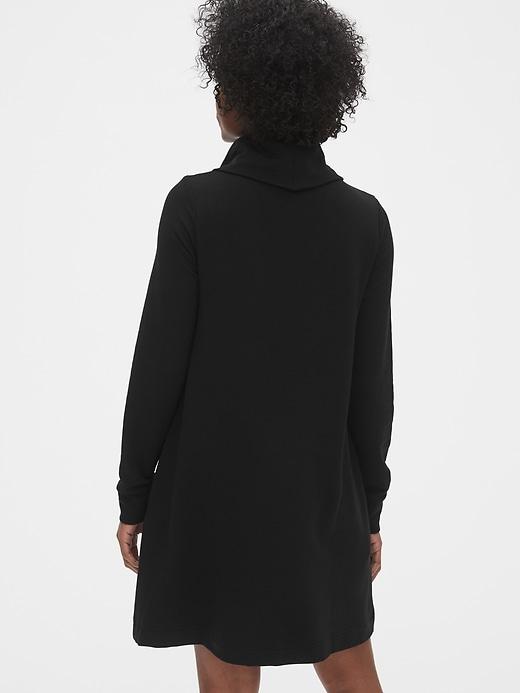 Cowl-Neck Swing Sweatshirt Dress