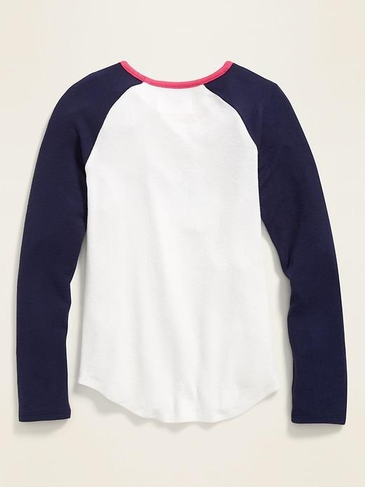 Graphic Plush-Knit Raglan-Sleeve Tee for Girls