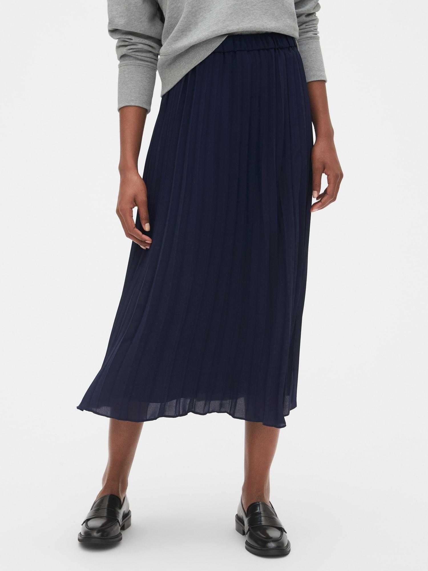 プリーツミディスカート