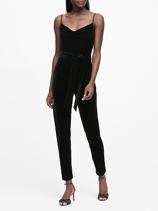 Velvet Cowl-Neck Jumpsuit