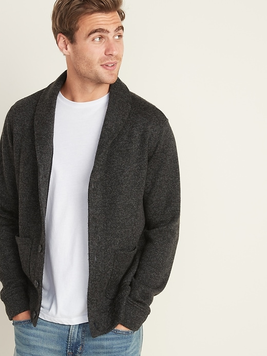 Shawl-Collar Button-Front Sweater-Fleece Cardigan for Men