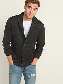Shawl-Collar Button-Front Sweater-Fleece Cardigan for Men