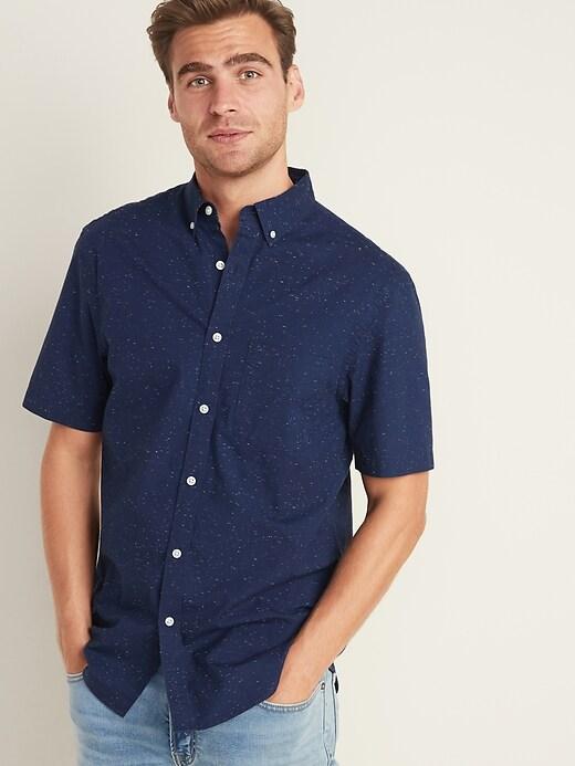 Slim-Fit Built-In Flex Neps-Textured Poplin Shirt for Men