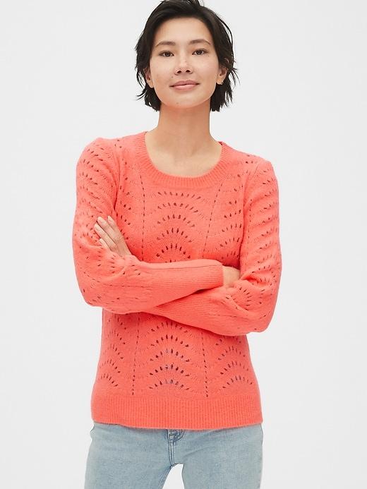 Pointelle Crewneck Sweater