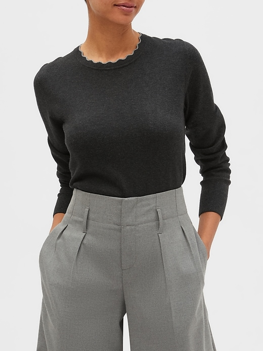 Washable Forever Scallop Crew-Neck Sweater