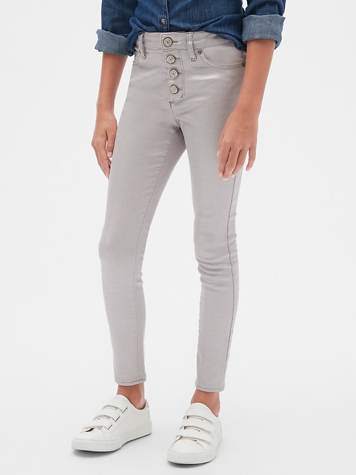 Kids High Rise Foil Jeggings with Stretch