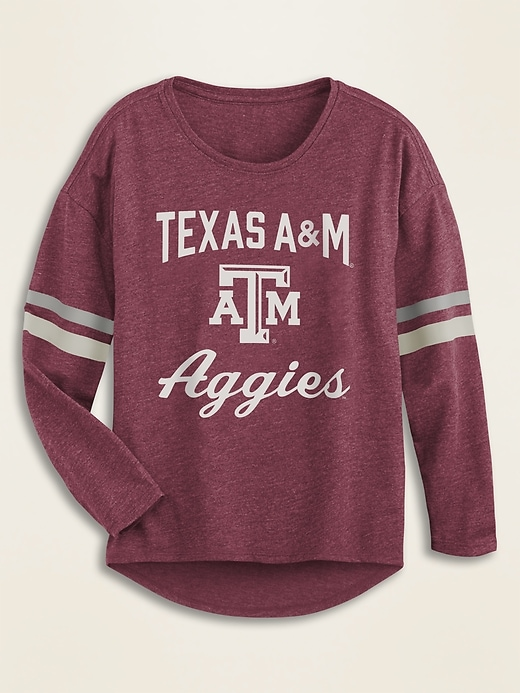 College Team Sleeve-Stripe Graphic Tee for Girls