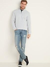 Mock-Neck 1/4-Zip Sweater-Fleece Pullover for Men