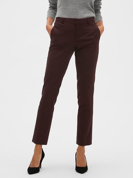 Petite Washable Ryan Burgundy Slim Straight Suit Trouser