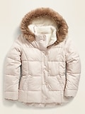 Frost-Free Water-Resistant Sherpa-Lined Puffer Jacket for Girls ON