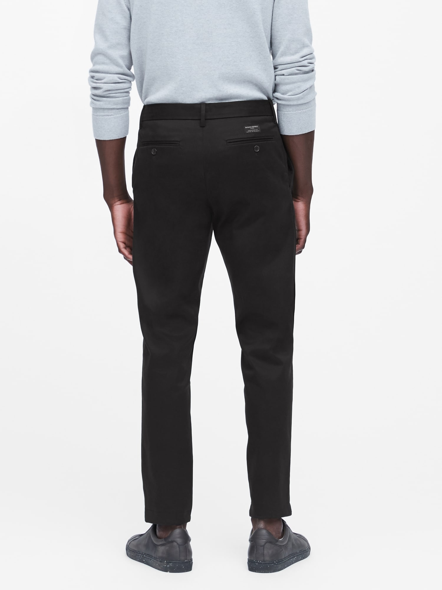 Twill Chino Pants with A Belt Flex Fabric Dark Navy Assorted Sizes