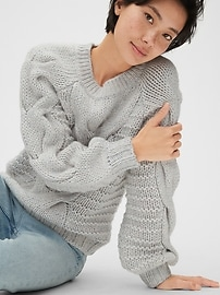 Chunky Cable-Knit Crewneck Sweater