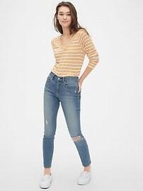 Stripe Waffle-Knit V-Neck T-Shirt